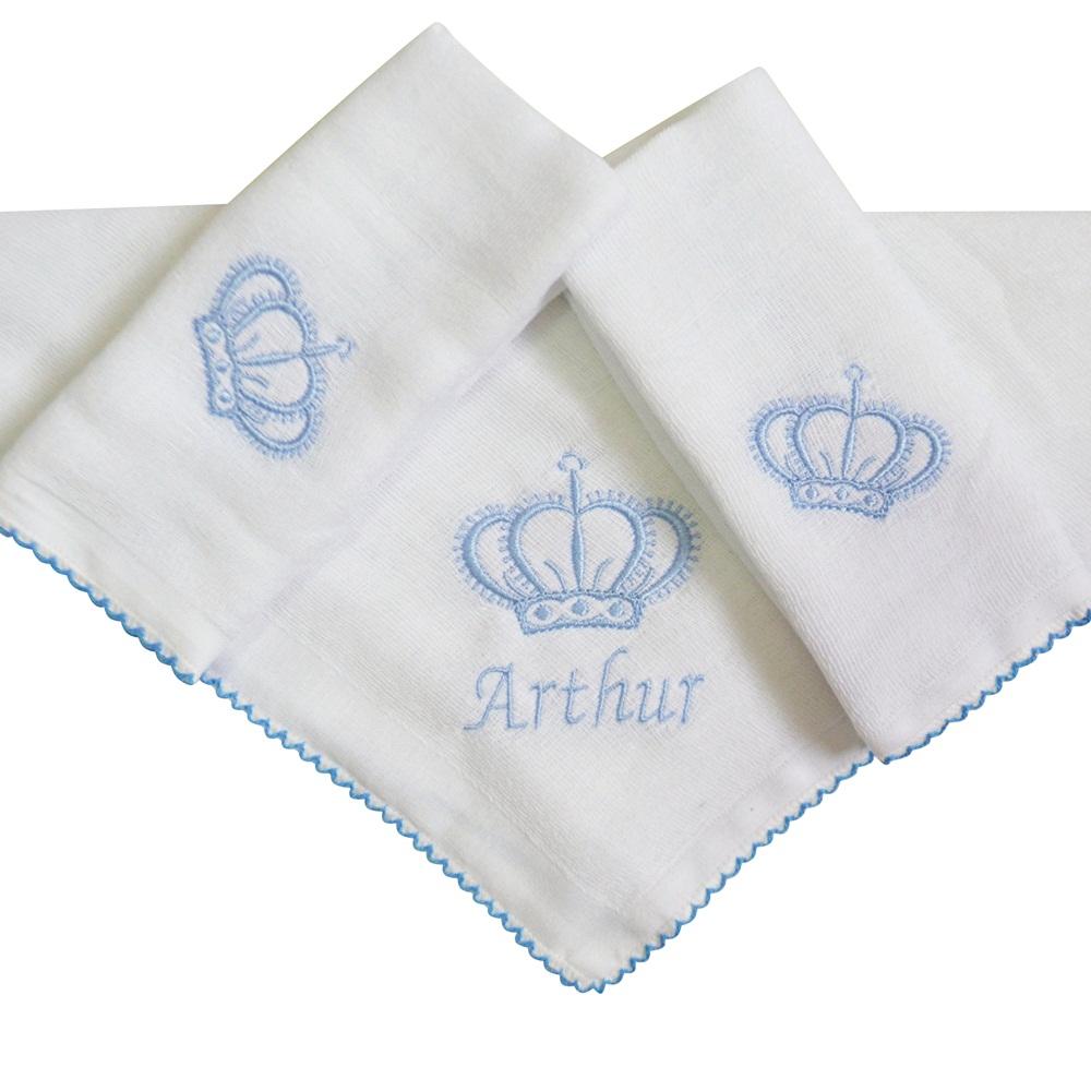 Kit Fraldas de Boca (Babete) 3 Peças Forrada Coroa Personalizada com Nome