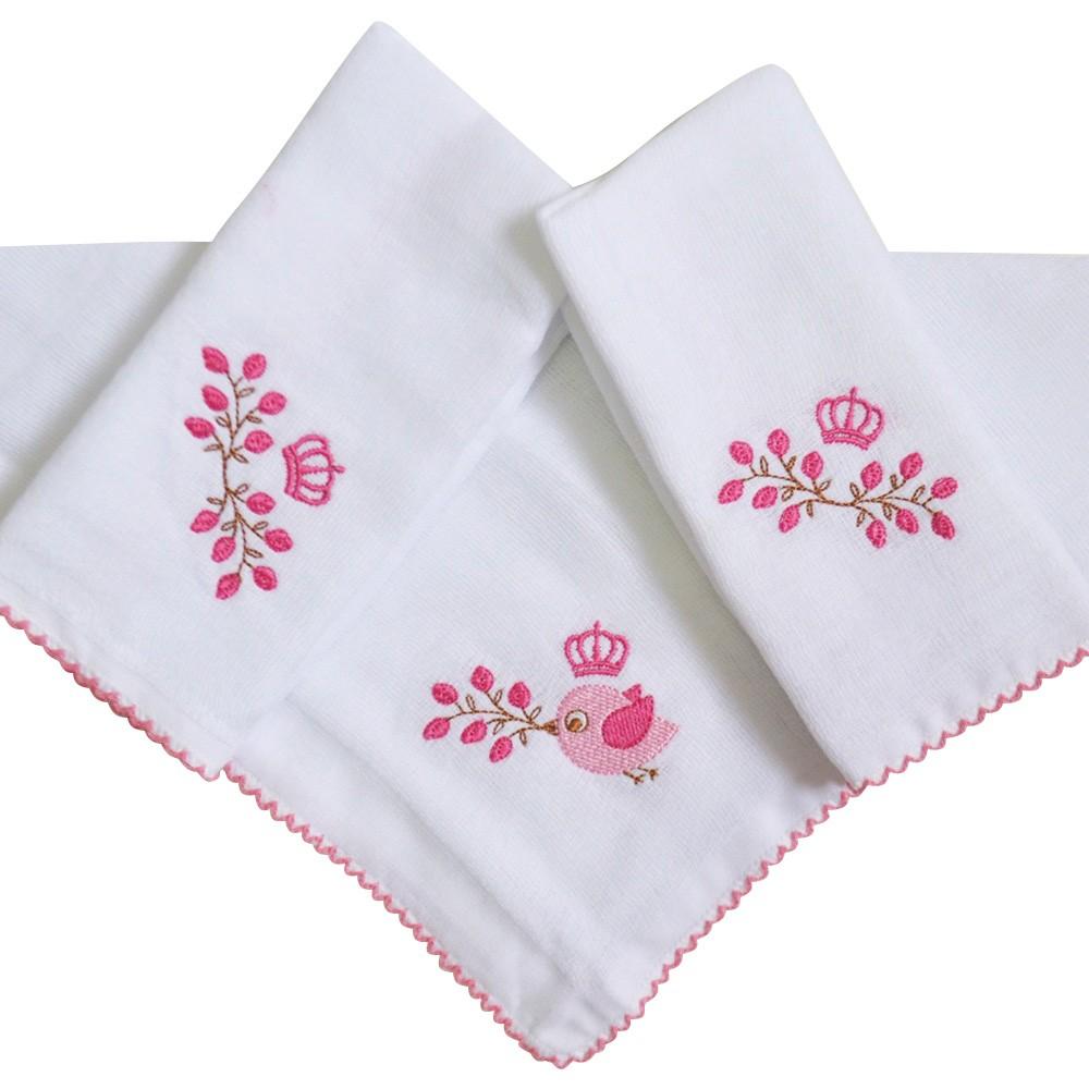 Kit Fraldas de Boca (Babete) 3 Peças Forrada Passarinho Coroa Flores Pink