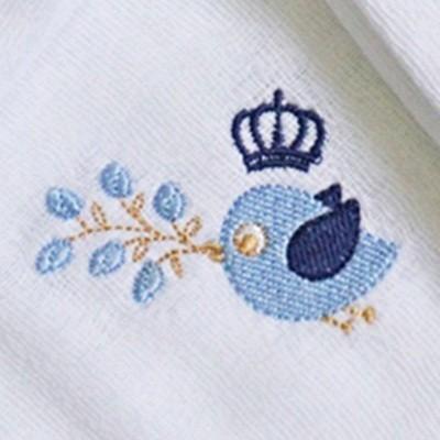 Kit Fraldas de Boca (Babete) 3 Peças Forrada Passarinho Coroa Flores Azul