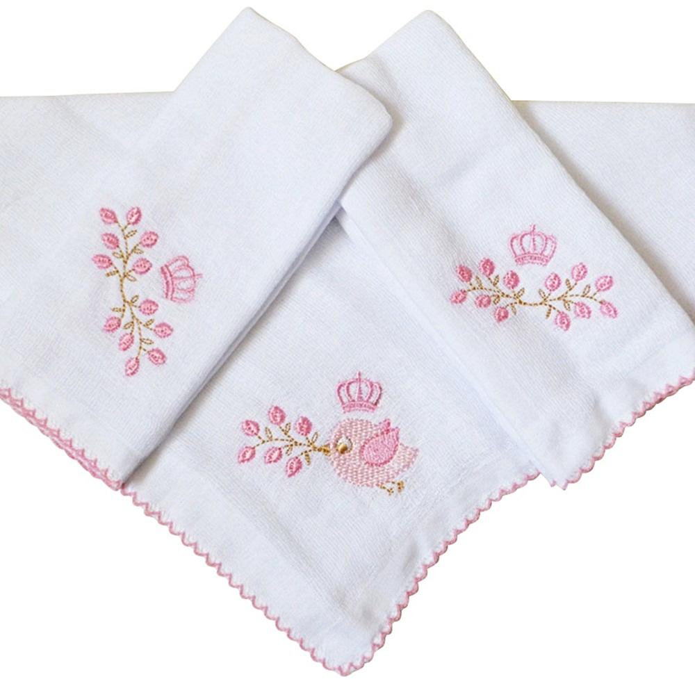 Kit Fraldas de Boca (Babete) 3 Peças Forrada Passarinho Coroa Flores Rosa