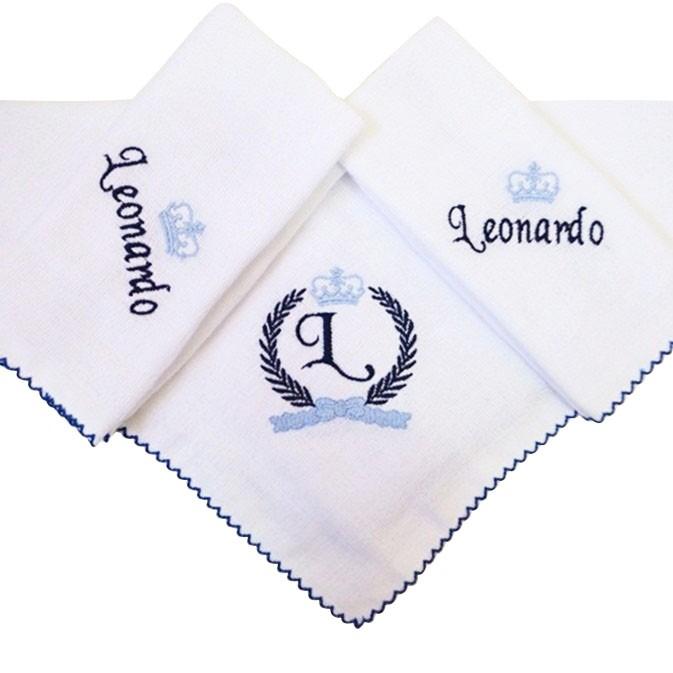 Kit 3 Peças Fralda de Boca Babete Dupla Branca Bordada Trigo Coroa Picueta Azul e Marinho Personalizada com Nome