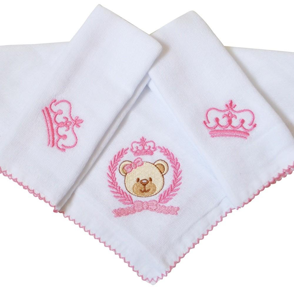 Kit Fraldas de Boca (Babete) 3 Peças Forrada Trigo Ursa Coroa Laço