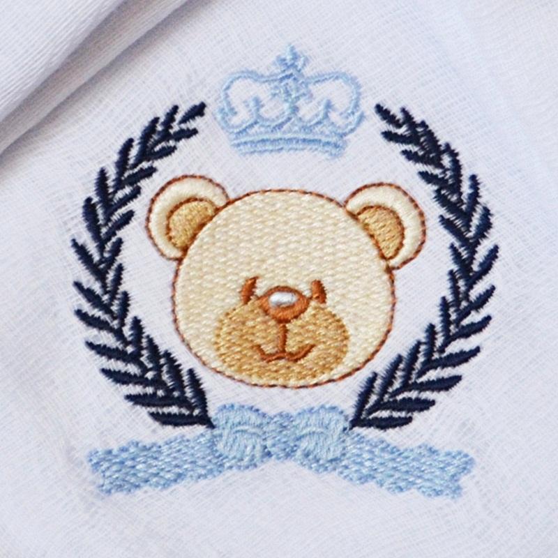 Kit Fraldas de Boca (Babete) 3 Peças Forrada Trigo Urso Coroa Laço