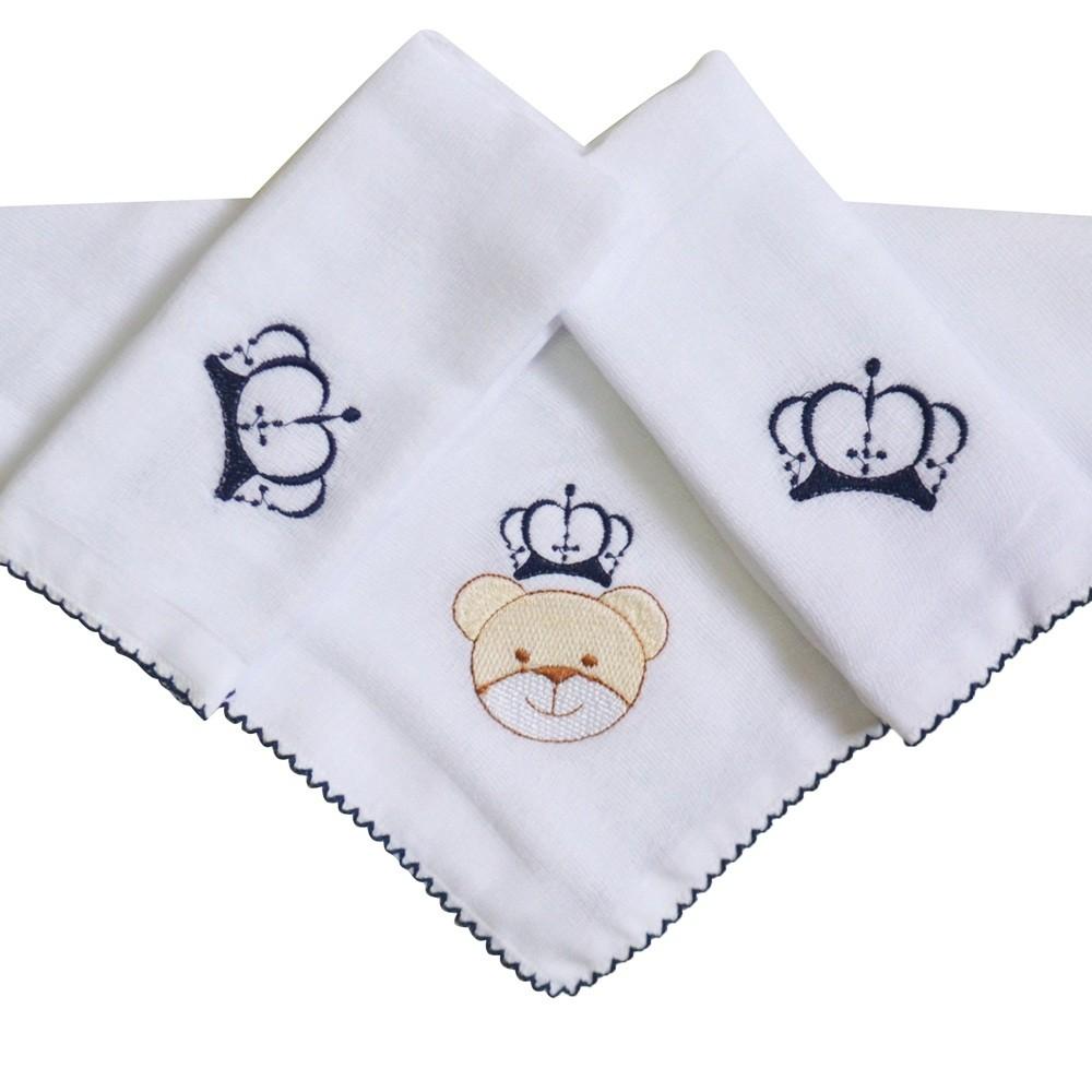 Kit Fraldas de Boca (Babete) 3 Peças Forrada Urso Coroa