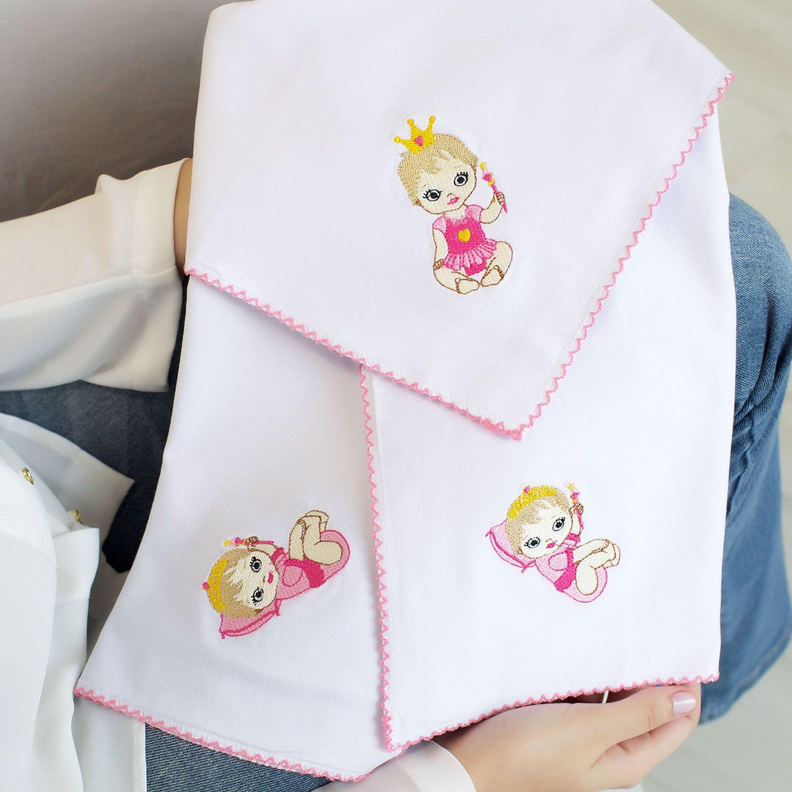 Kit Fraldas de Boca (Babete) 3 Peças Malha Boneca Princesa Rosa Pink Bordada e Forrada