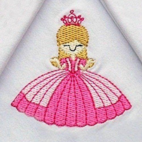 Kit Fraldas de Boca (Babete) 3 Peças Malha Forrada Princesa Rosa Bordado