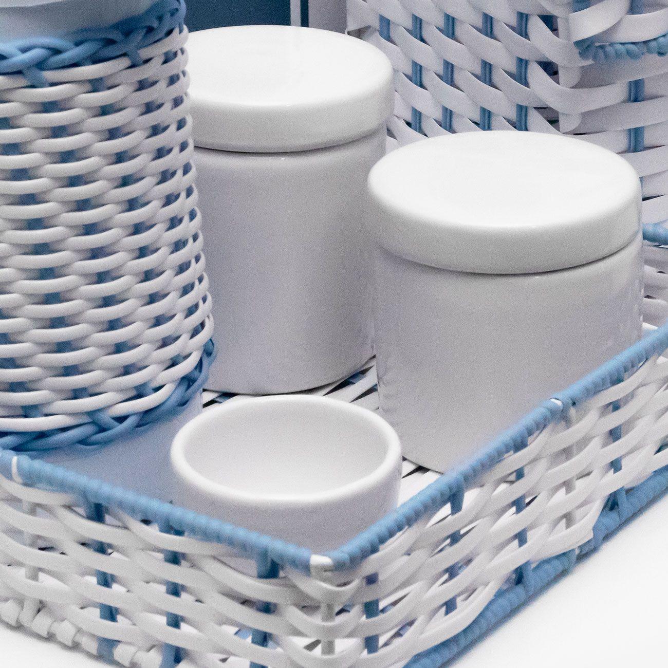 Kit Higiene 6 Peças Bebê Cerâmica, Ferro e Vime Sintético Branco e Azul