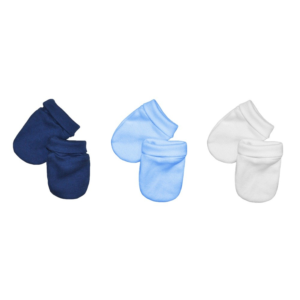 Kit 3 Pares Luvas Bebê Malha Suedine Azul, Branco e Marinho