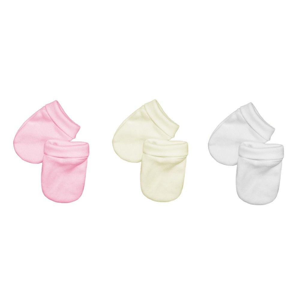Kit 3 Pares Luvas Bebê Malha Suedine Branco, Palha e Rosa
