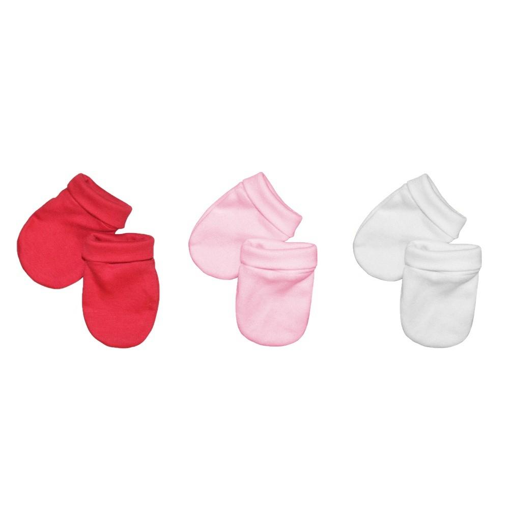 Kit 3 Pares Luvas Bebê Malha Suedine Branco, Rosa e Vermelho