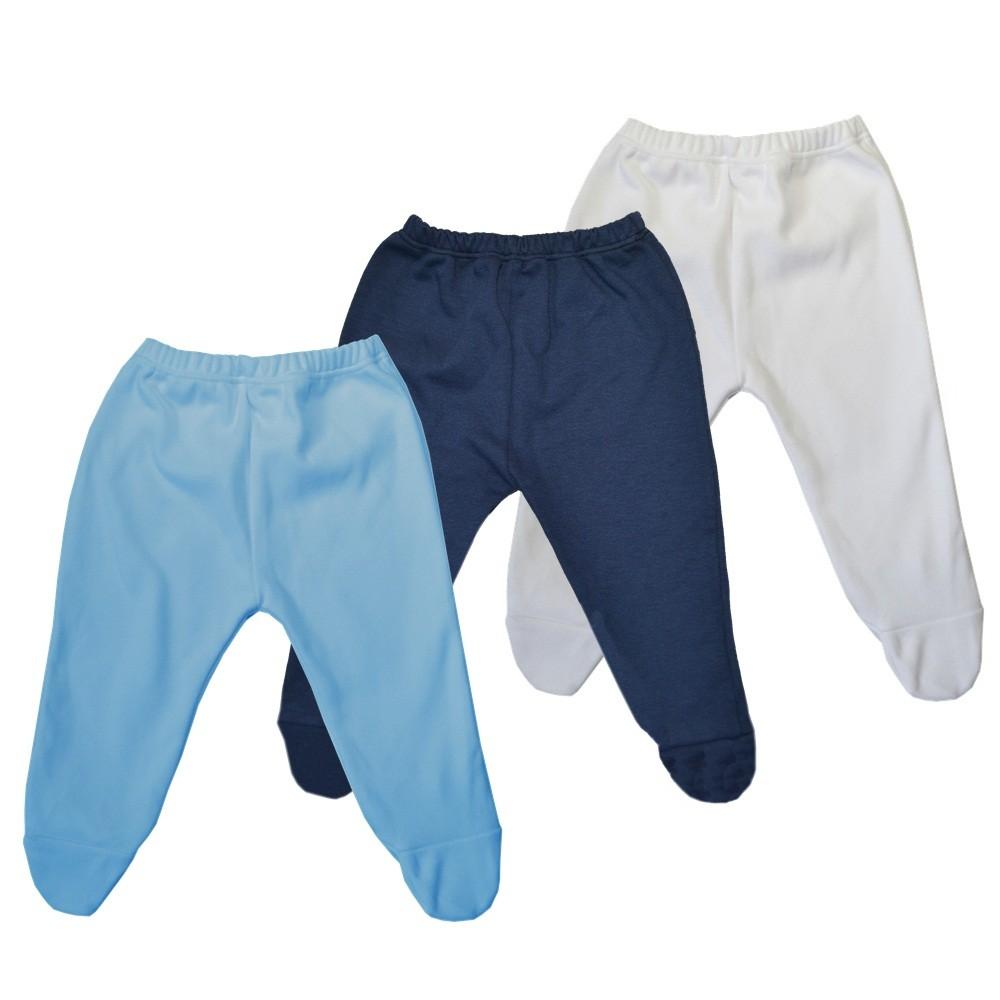 Kit 3 Peças Mijões Malha Suedine Azul, Branco e Marinho