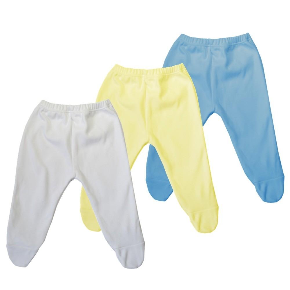 Kit 3 Peças Mijões Malha Suedine Amarelo, Azul e Branco