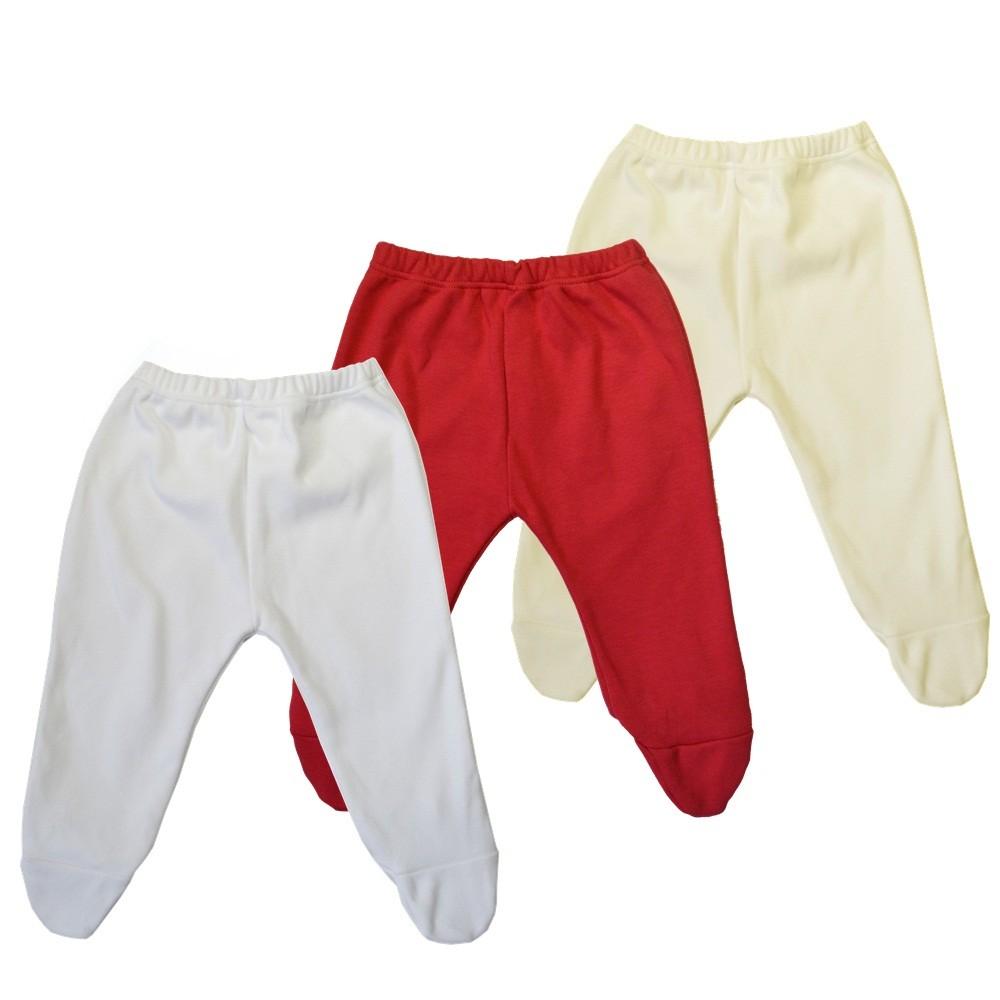 Kit 3 Peças Mijões Malha Suedine Branco, Palha e Vermelho