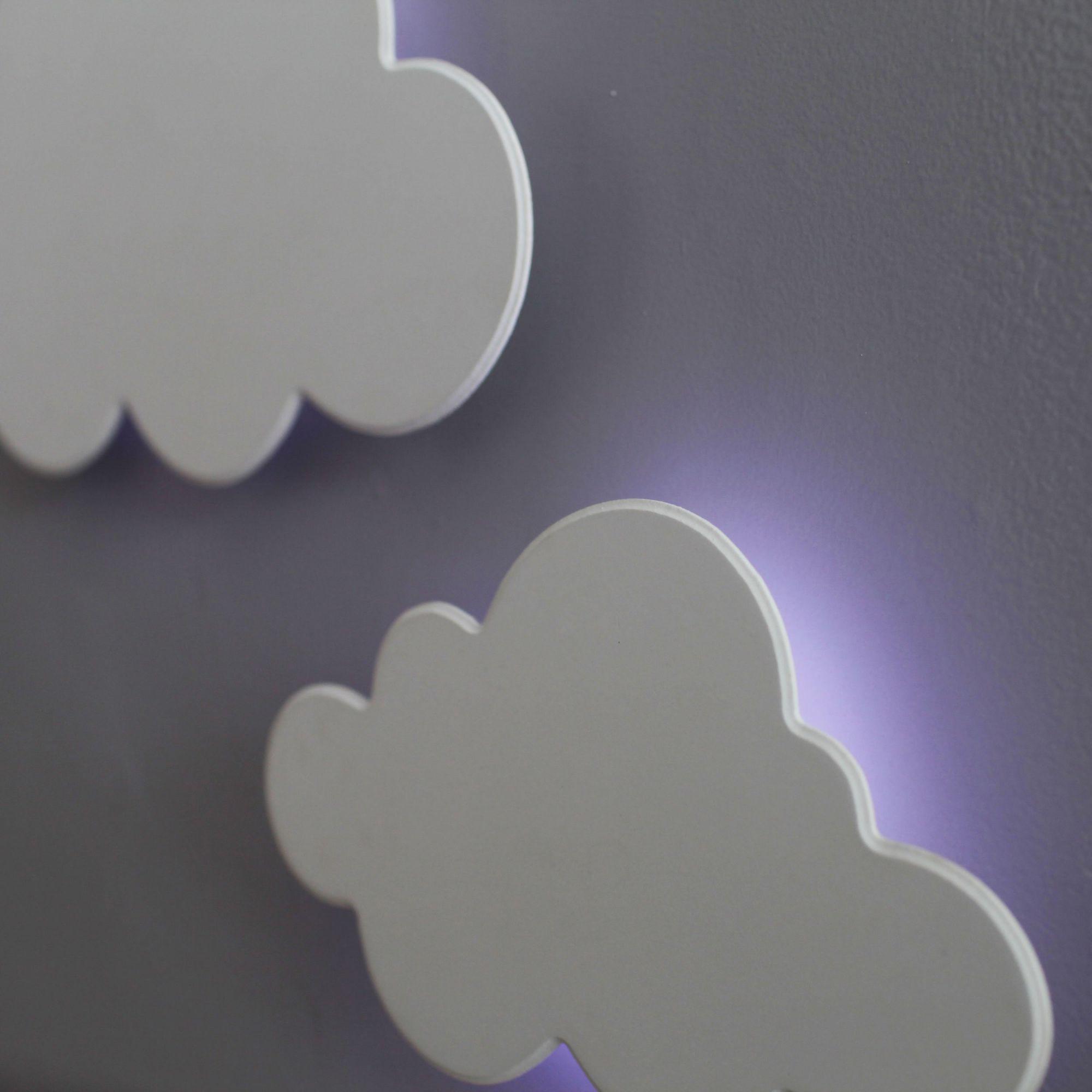 Kit Nuvens Luminária 3 Peças MDF Branca com LED com Luz Fria