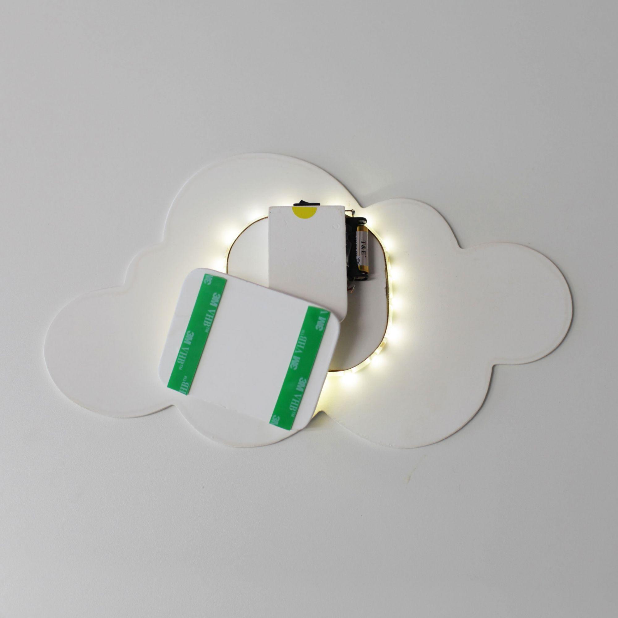 Kit Nuvens Luminária 3 Peças MDF Branca com LED com Luz Quente