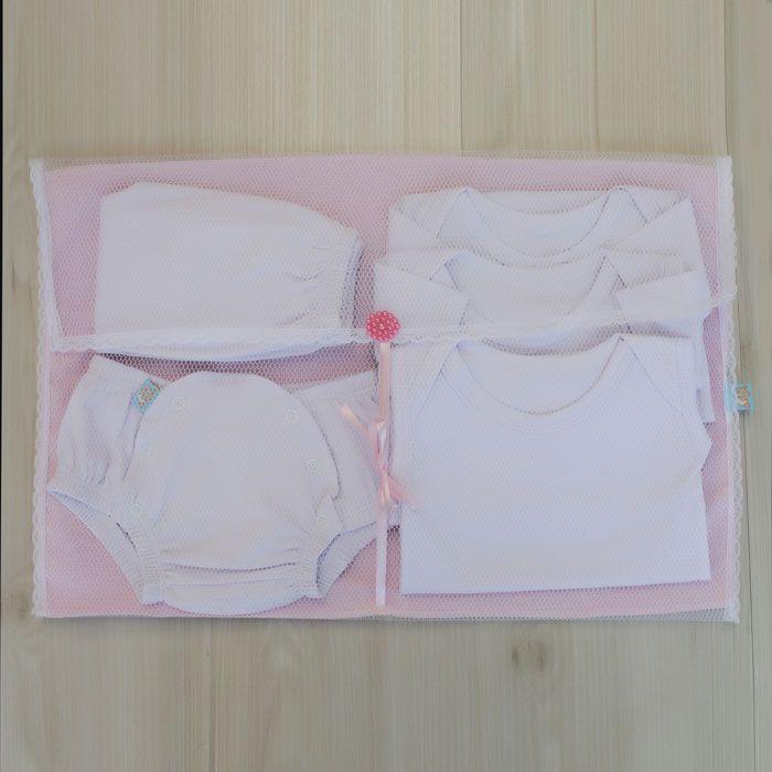 Kit Saquinhos Maternidade 4 Peças para Roupas Duplo Tule Poá Rosa e Branco com Pérolas