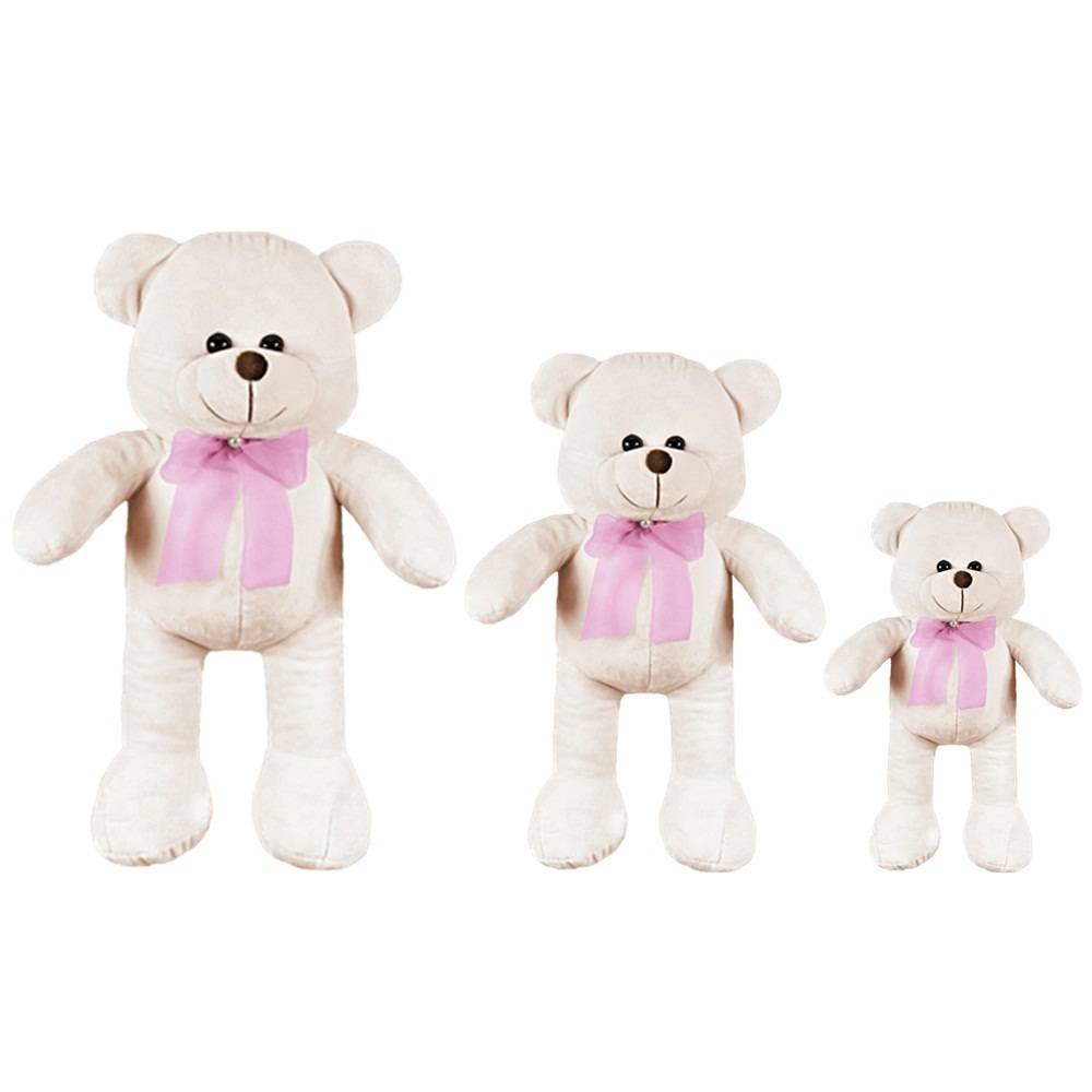Kit Ursas 3 Peças Palha Laço Rosa Pérola