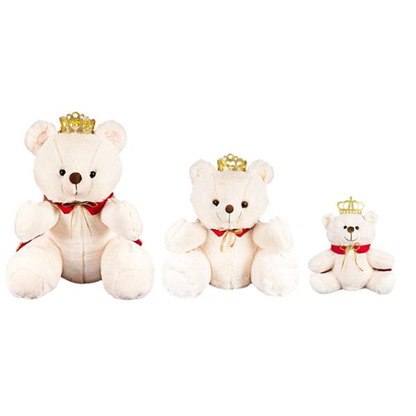 Kit Ursos 3 Peças Pelúcia Importada Marfim Rei Coroa Capa - Shopping do Bebê  ... 340e3bf8a6b02