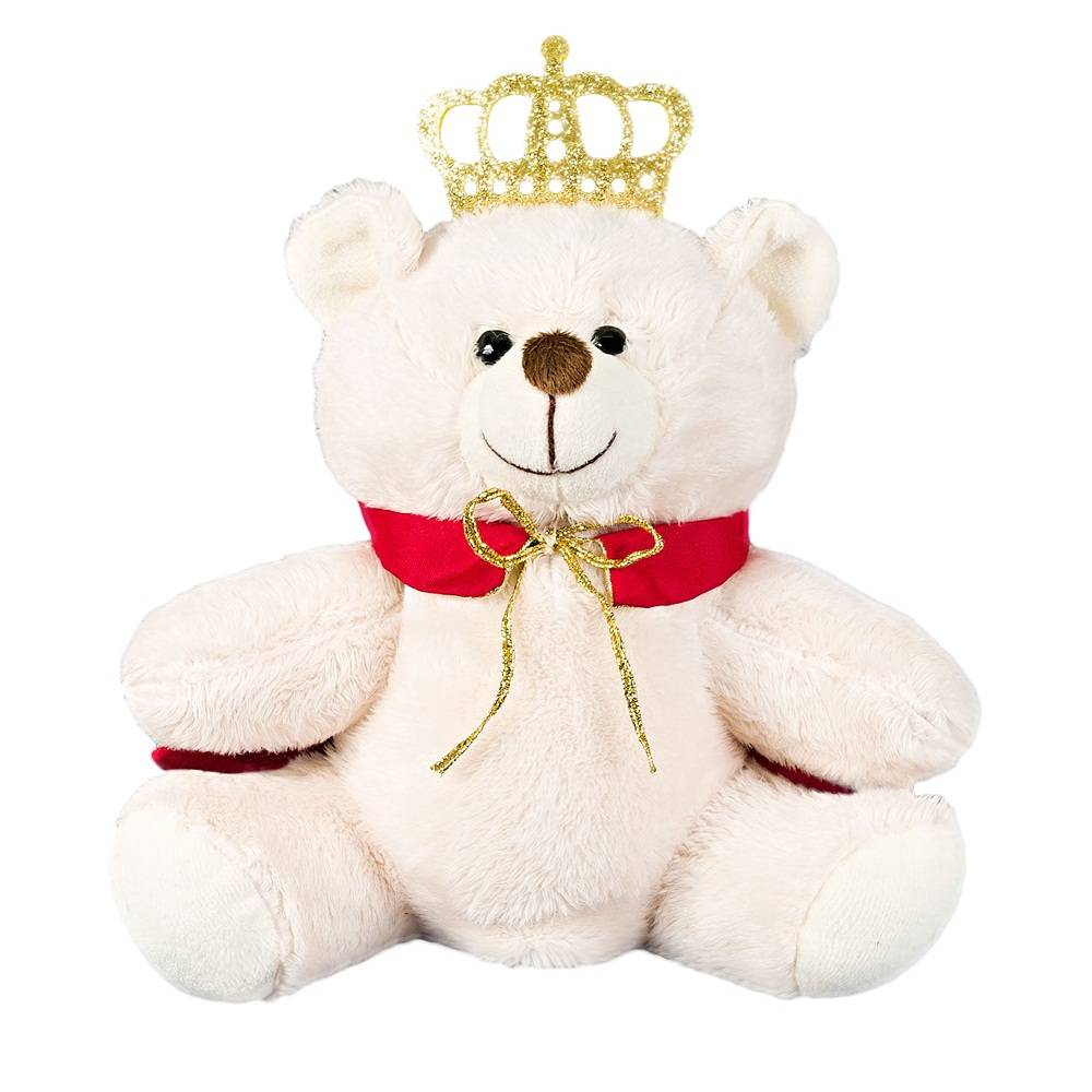 Kit Ursos 3 Peças Pelúcia Importada Marfim Rei Coroa Capa