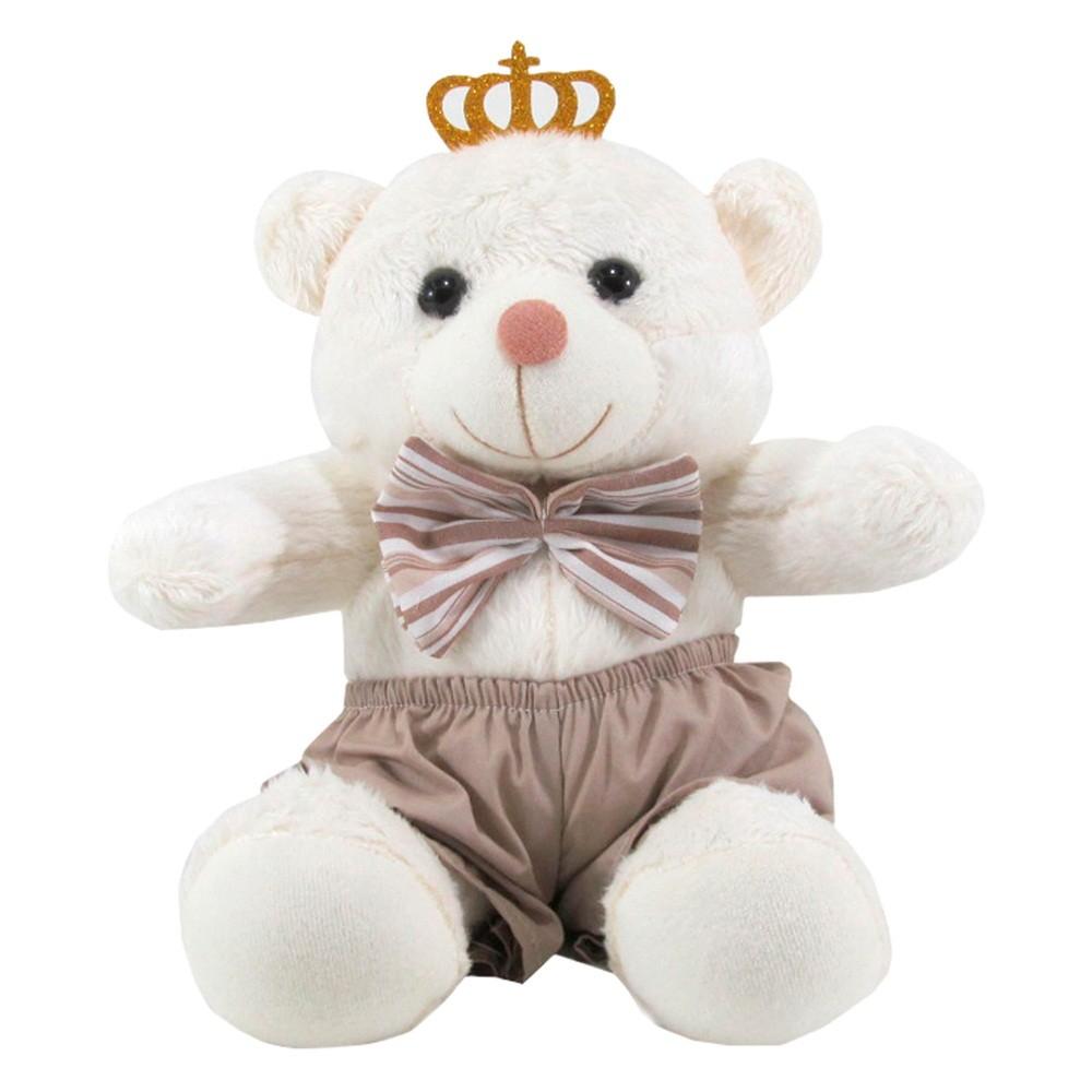 Kit 3 Peças Ursos Soft Pequeno, Médio e Grande Shorts Bege e Laço Listrado com Coroa