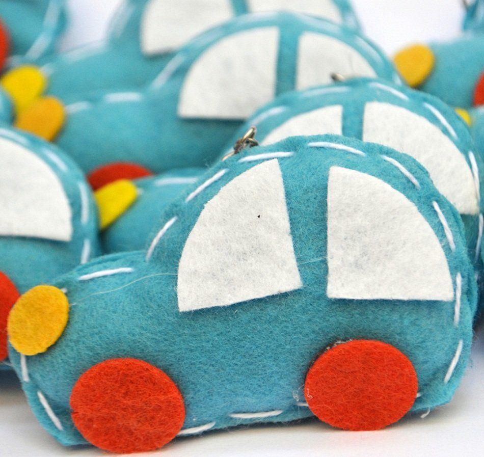 Lembrança Chaveiro Feltro Carro Azul e Laranja