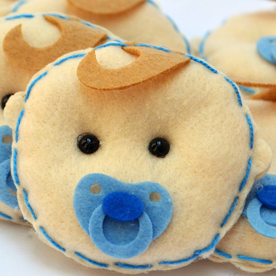 Lembranças Chaveiro 30 Unidades Feltro Azul Bebê Chupeta