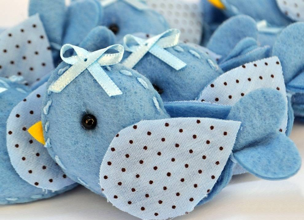 Lembranças Chaveiro 30 Unidades Feltro Azul Pássarinho Poá