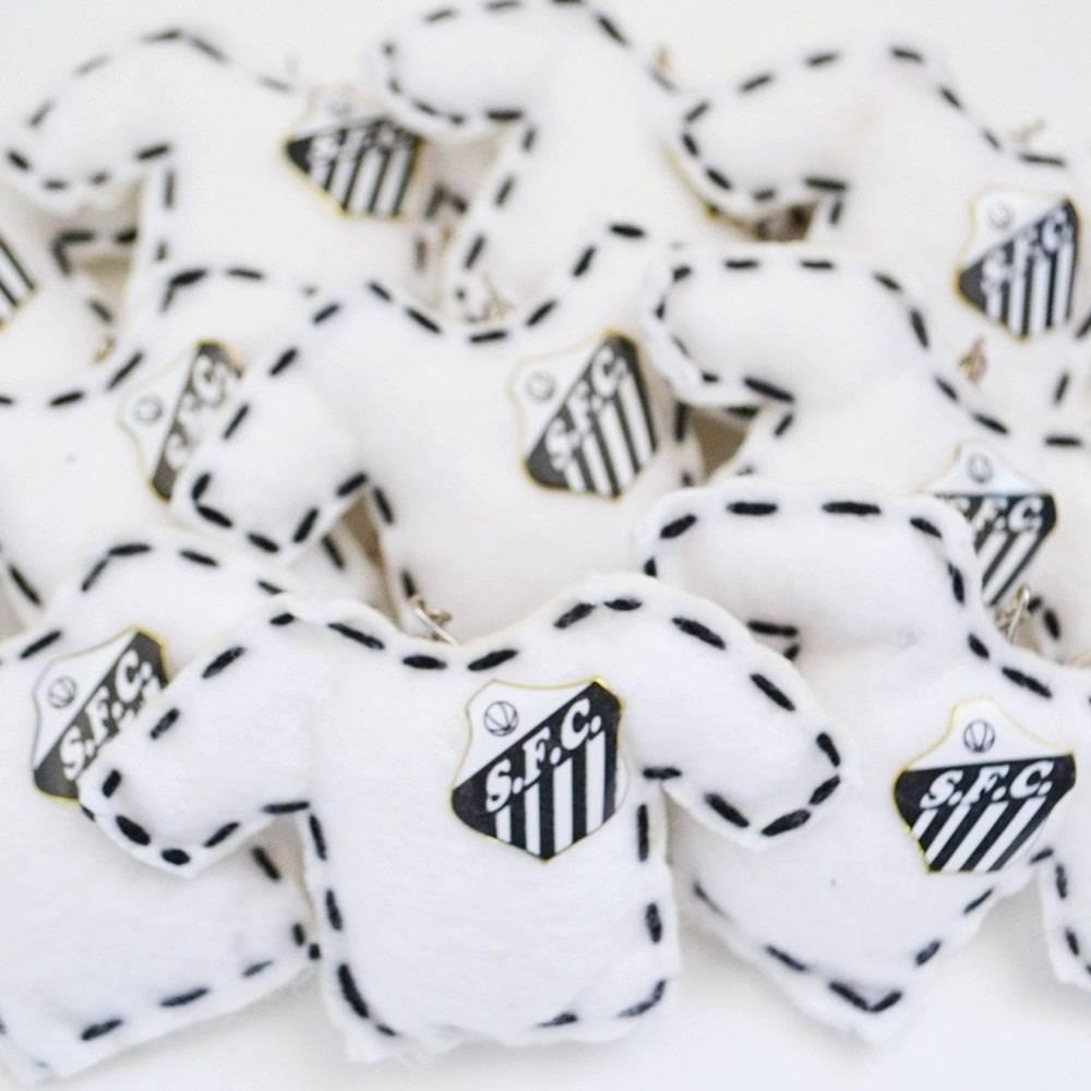 Lembranças Chaveiro 30 Unidades Feltro Branca e Preta Camisa Santos