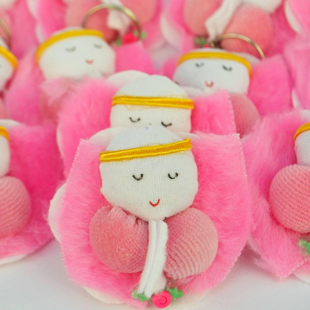 Lembranças Chaveiro 30 Unidades Feltro Rosa Anjinha Flor