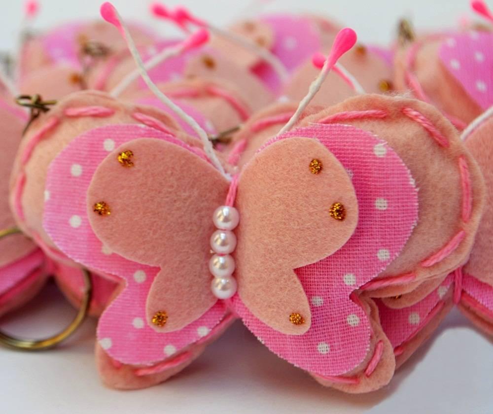 Lembranças Chaveiro 30 Unidades Feltro Rosa Borboleta Poá Pérolas