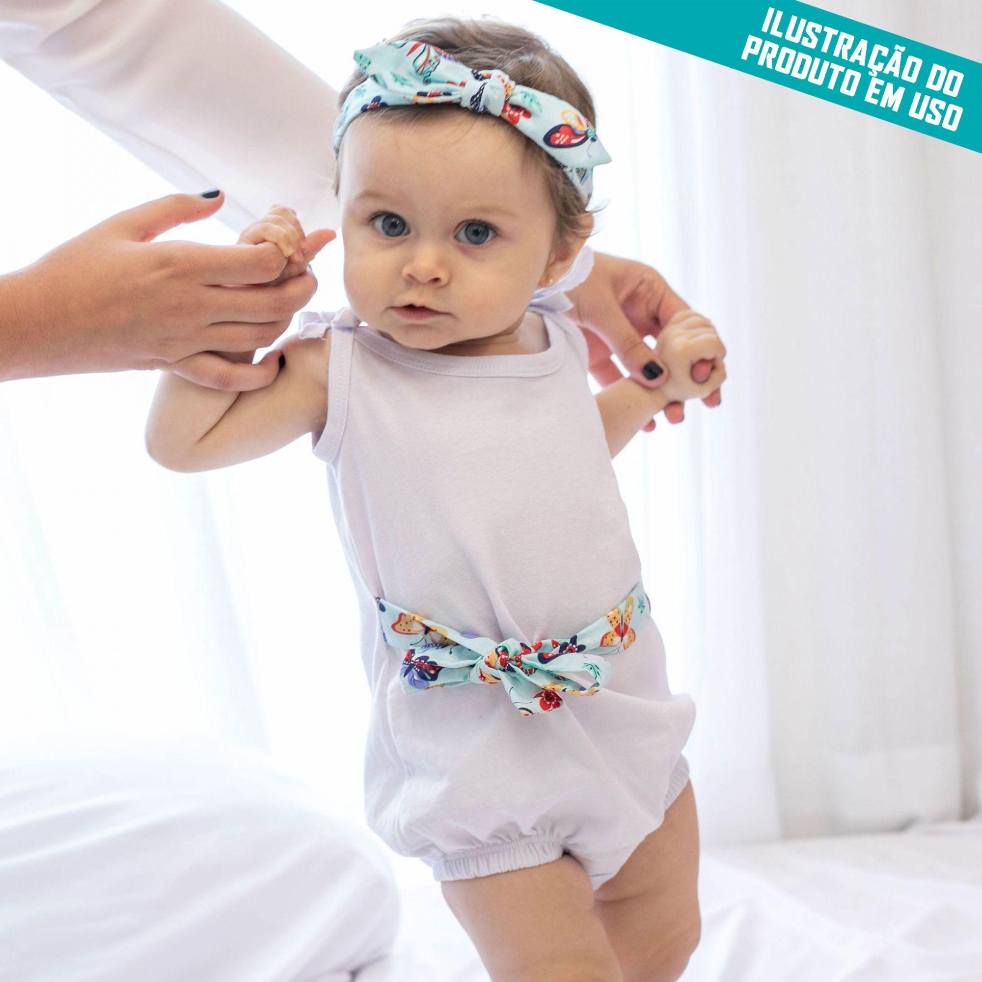 Macacão Alcinha Bebê Banho de Sol Malha Marinho com Faixa de Cabelo e Cintura Poá Marinho e Branco