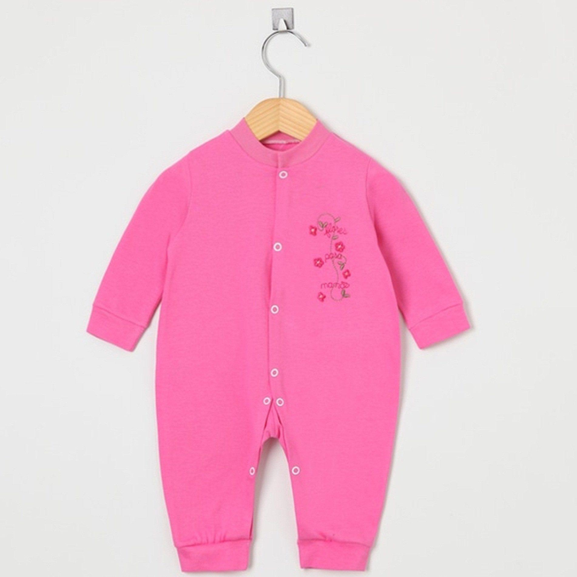 Macacão Manga Longa Malha Pink Flores para Mamãe