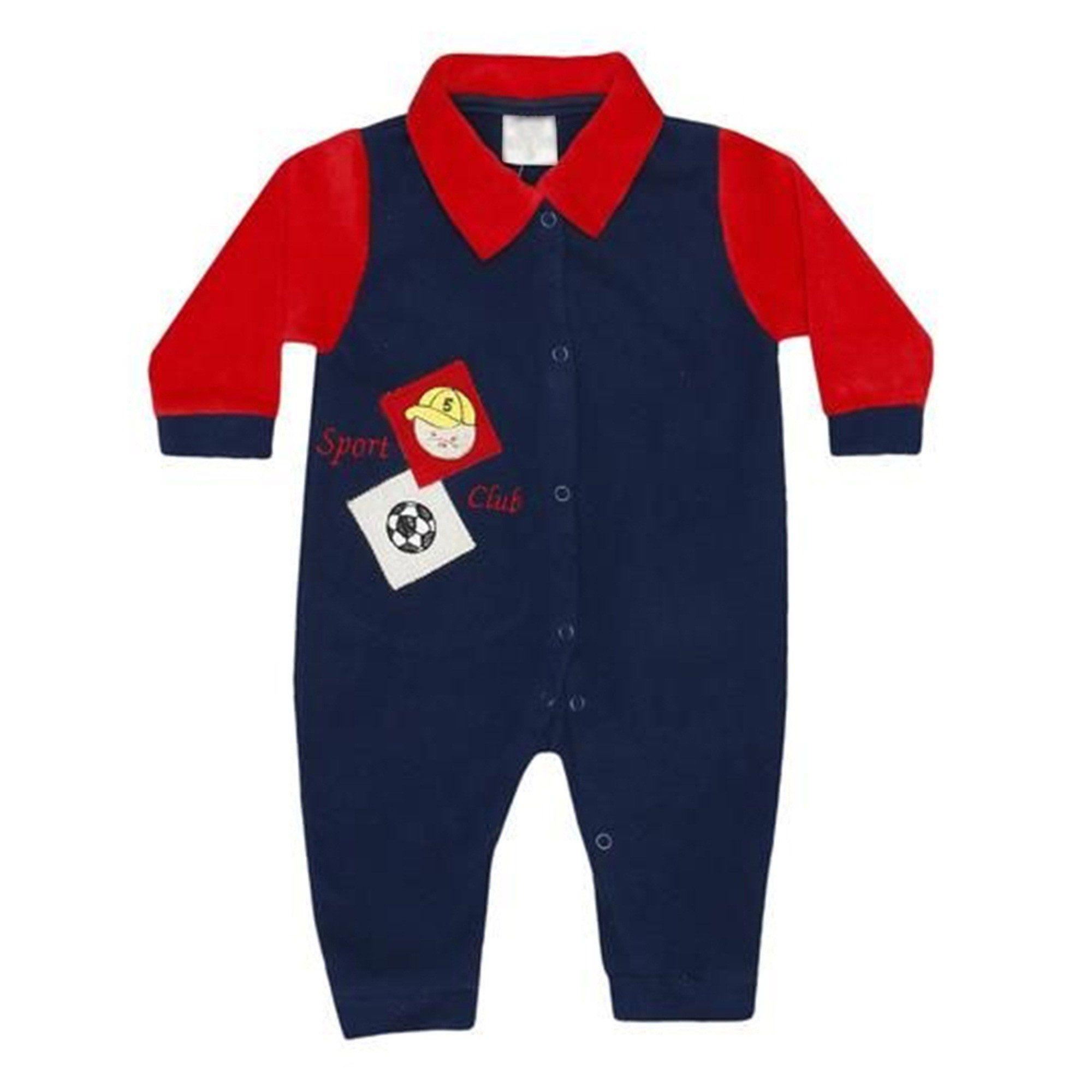 Macacão Manga Longa Soft Menino Bola Vermelho e Marinho - Shopping do Bebê  ... 12721826384