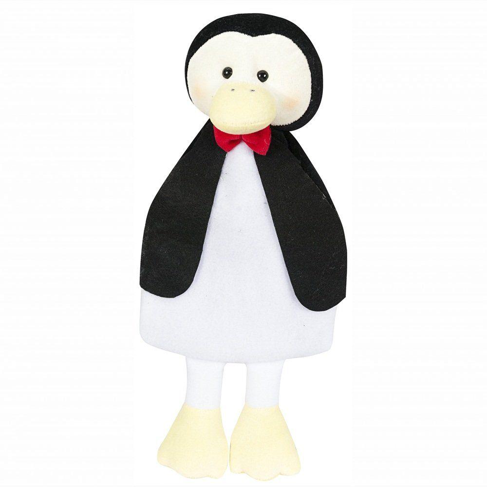 Naninha Corpinho Soft Branco e Preto Pinguim com Prendedor de Chupeta