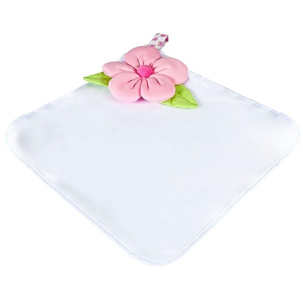 Naninha Grande Soft Branca Flor Rosa com Prendedor de Chupeta