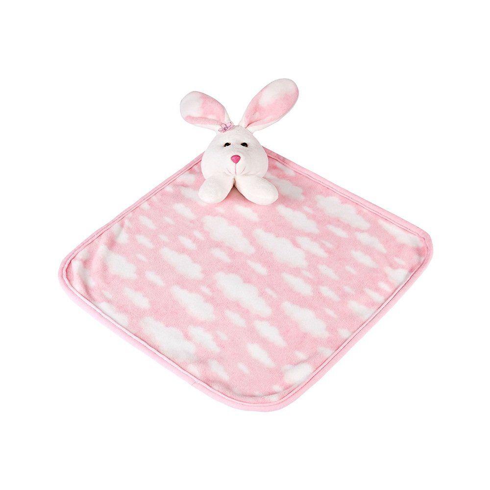 Naninha Pequena Soft Rosa Nuvens Coelhinha com Prendedor de Chupeta