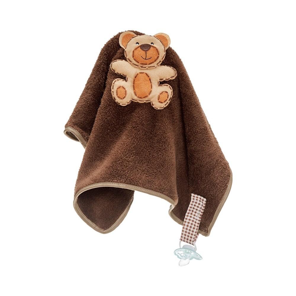 Naninha Pequena Soft Urso com Prendedor de Chupeta