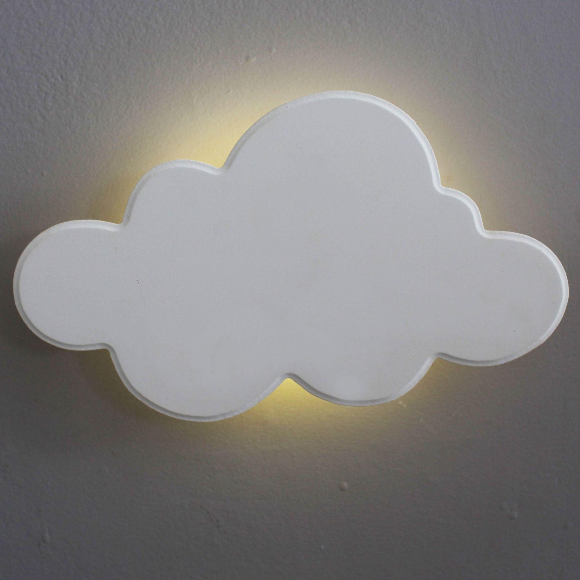 Nuvem Luminária MDF Branca Grande com LED com Luz Quente