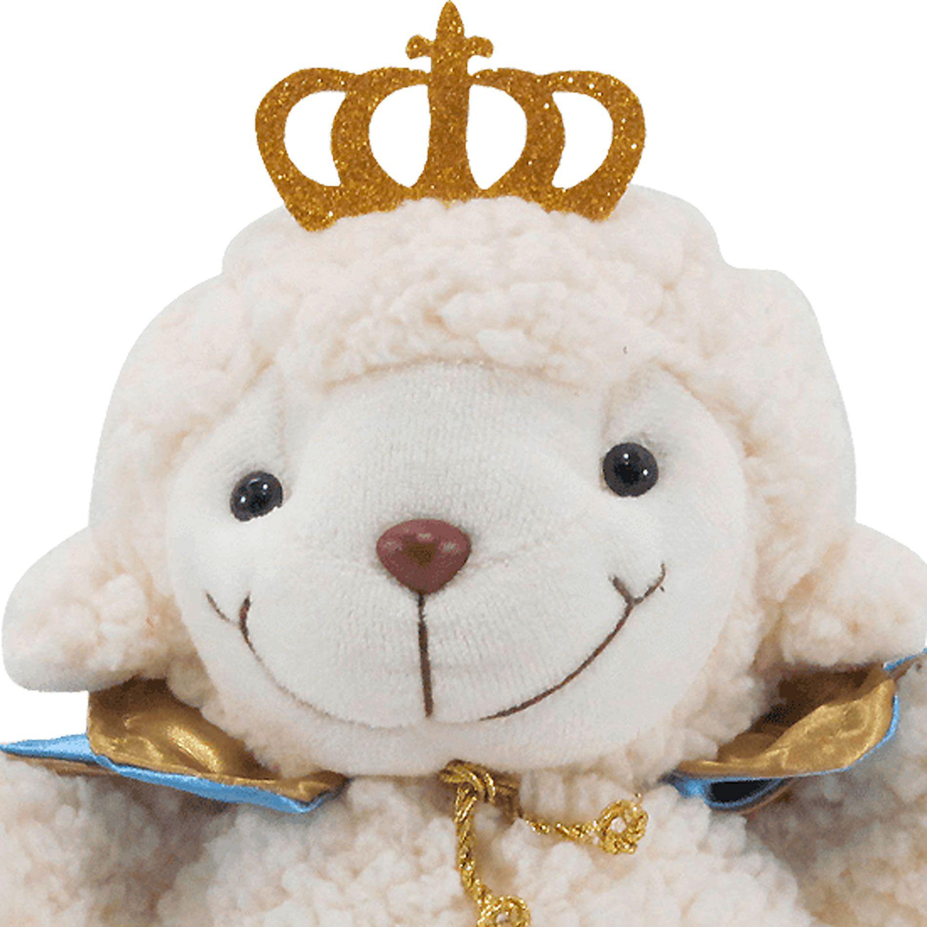 Ovelha de Pelúcia Carapinha Príncipe com Coroa e Capa Cetim Azul e Dourada