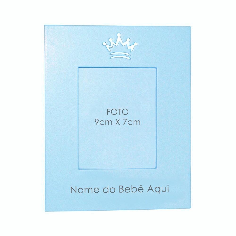 Porta-Retrato Azul Bebê Mdf Coroa Personalizado com Nome