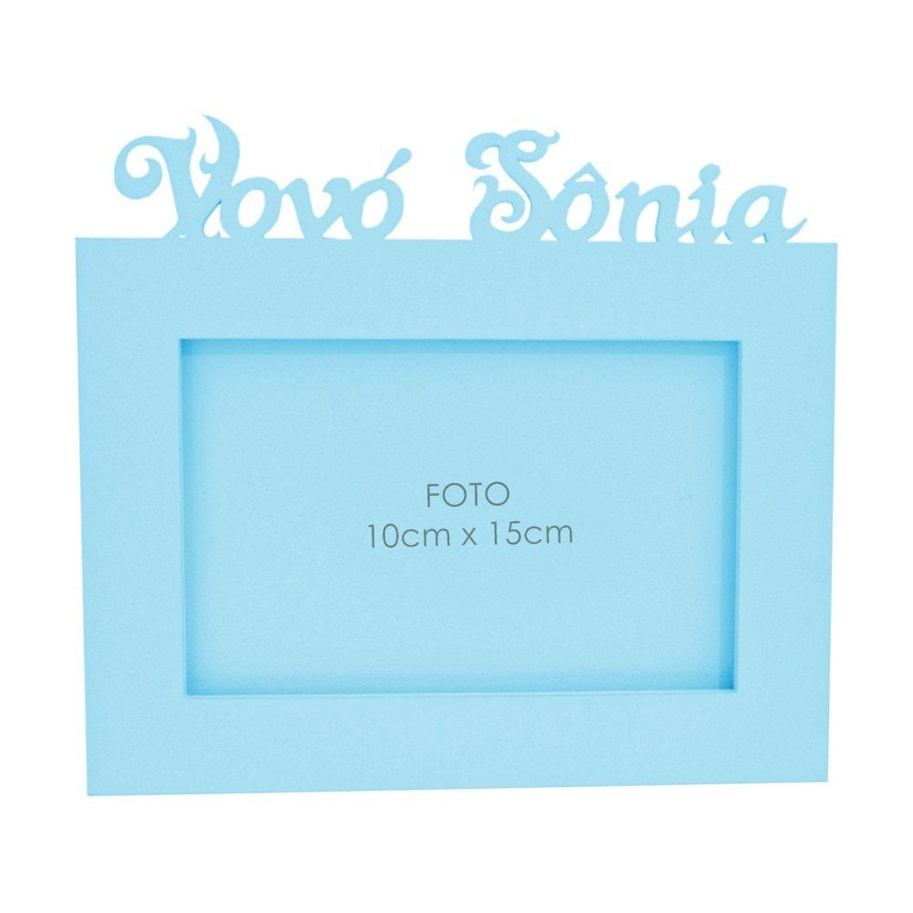 Porta-Retrato Azul Mdf Personalizado com Nome da Vovó
