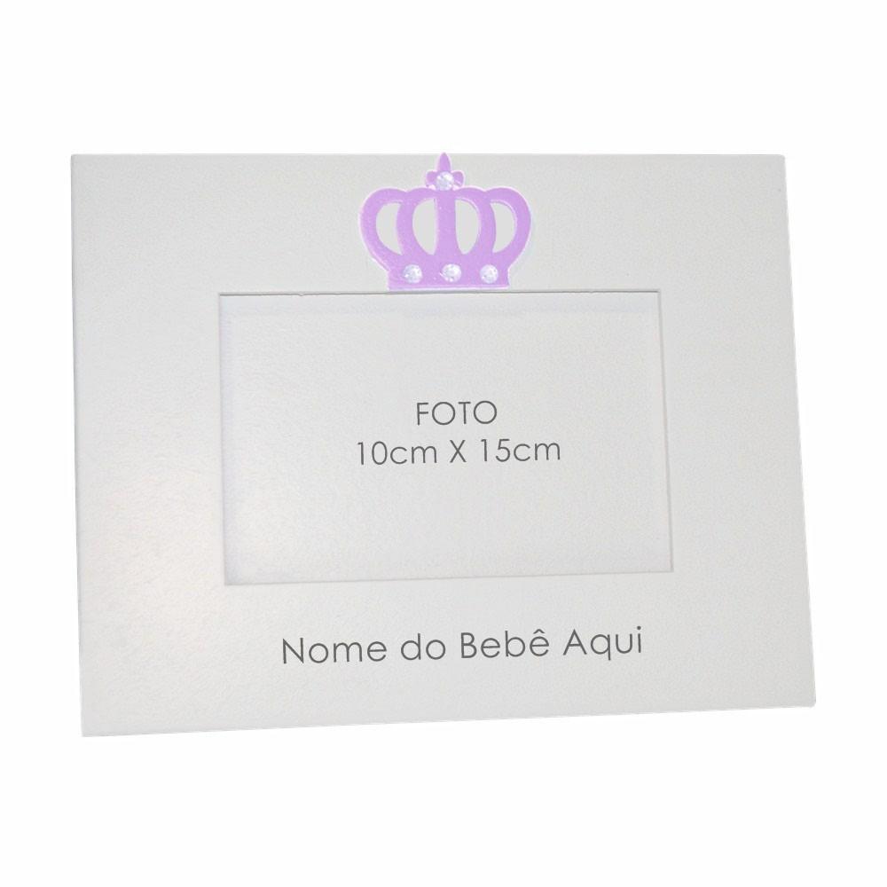 Porta-Retrato Branco Coroa Lilás Strass Personalizado com Nome