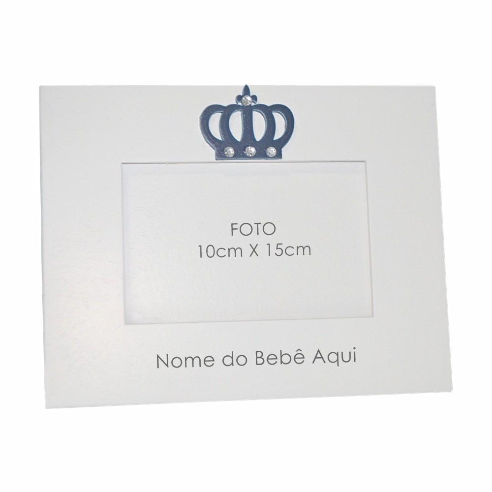 Porta-Retrato Branco Coroa Marinho Strass Personalizado com Nome