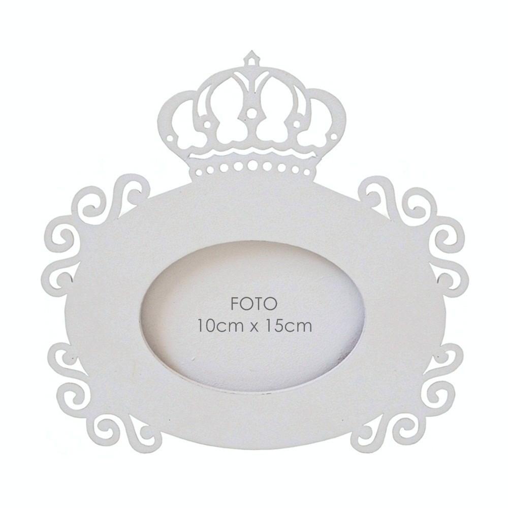 Porta-Retrato Branco Coroa Mdf