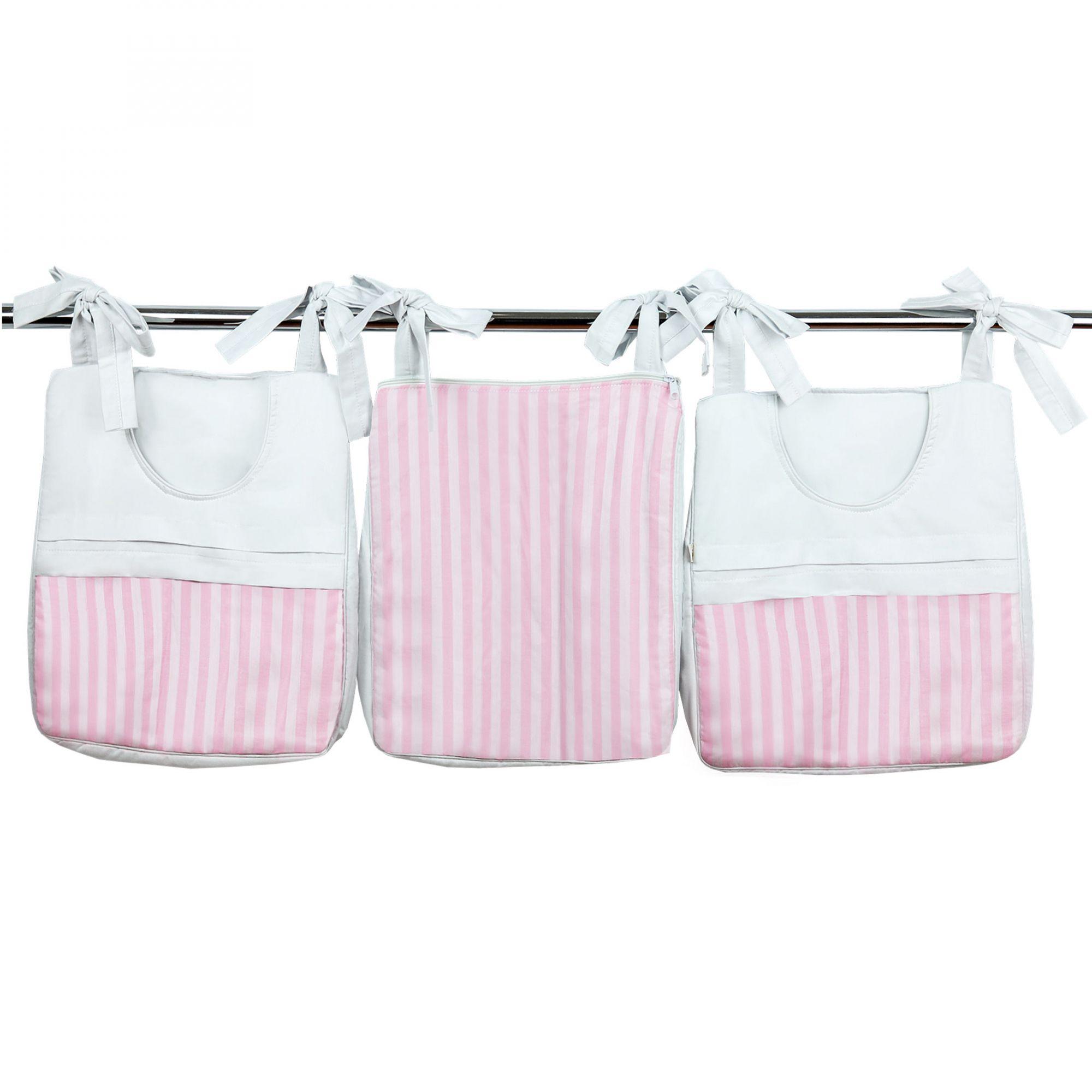 Porta Fraldas e Trecos 3 Peças Percal 300 Fios Listrado Rosa Pink e Branco para Varão