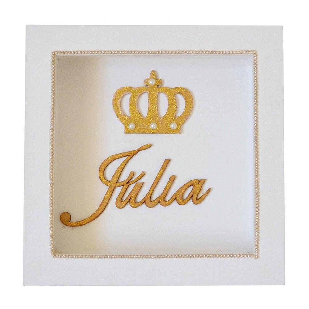 2d60aae23 Quadro de Parede Branco Coroa Pérolas Glitter Dourado Mdf Personalizado com  Nome - Shopping do Bebê