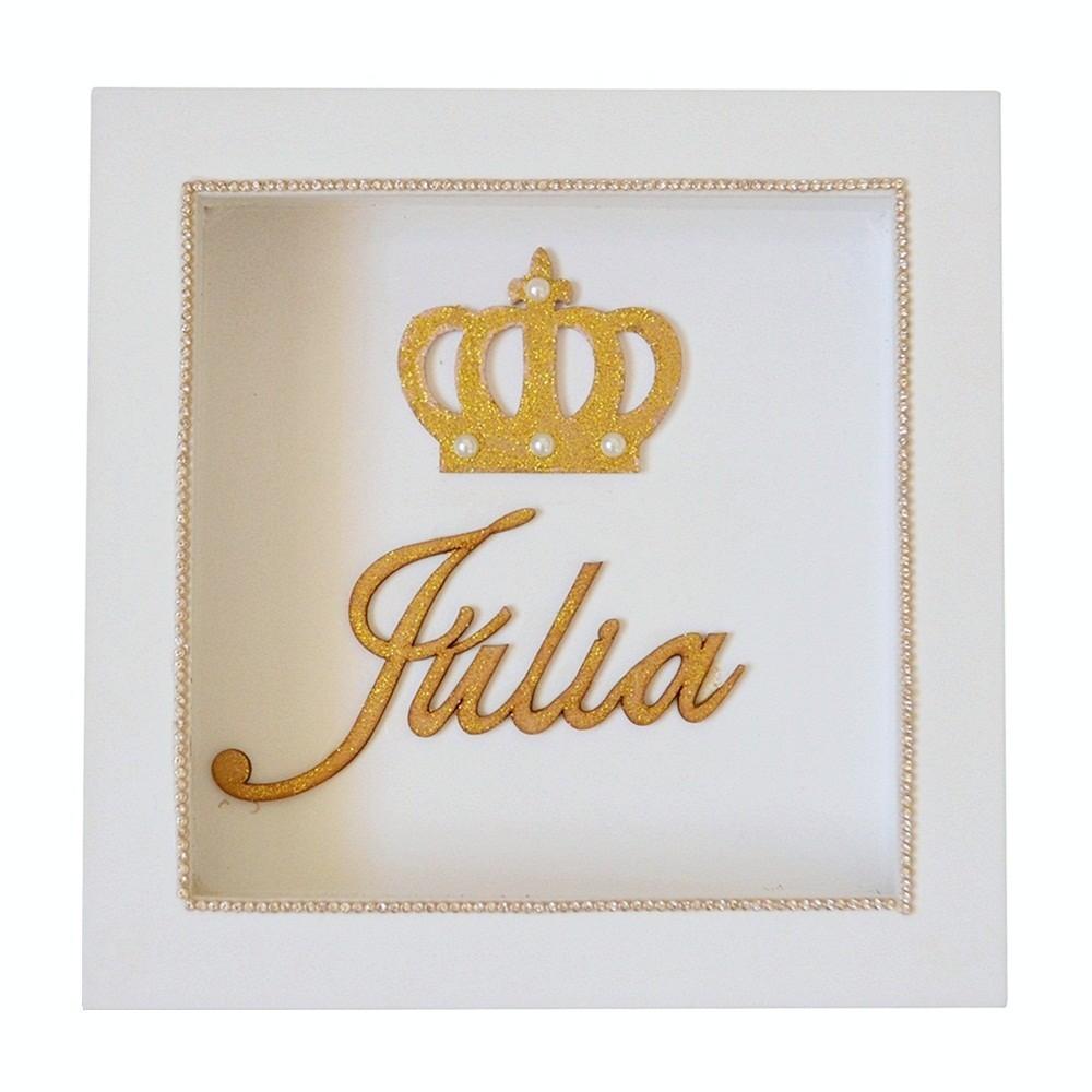 Quadro de Parede Branco Coroa Pérolas Glitter Dourado Mdf Personalizado com Nome