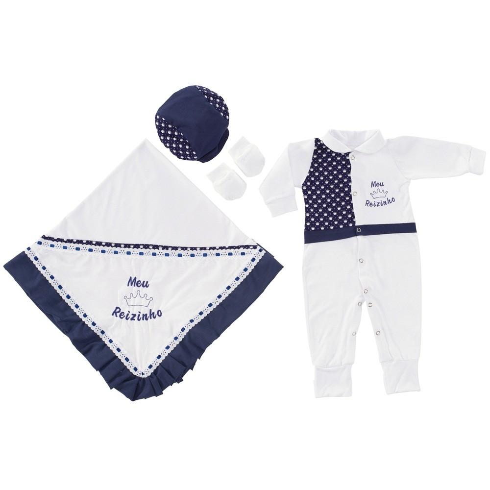 Mais que uma Loja de Bebê Online - Roupa e Enxoval para seu Bebê Saída  Maternidade Branco e Marinho Meu Reizinho com Boné e Luvas Saídas de  Maternidade b9d1590ab78
