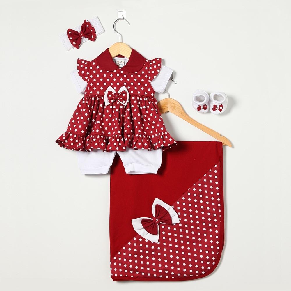 Saída Maternidade Manga Curta Bolas Laço com Faixa e Pantufas - Shopping do  Bebê ... 50c2daf2e5c