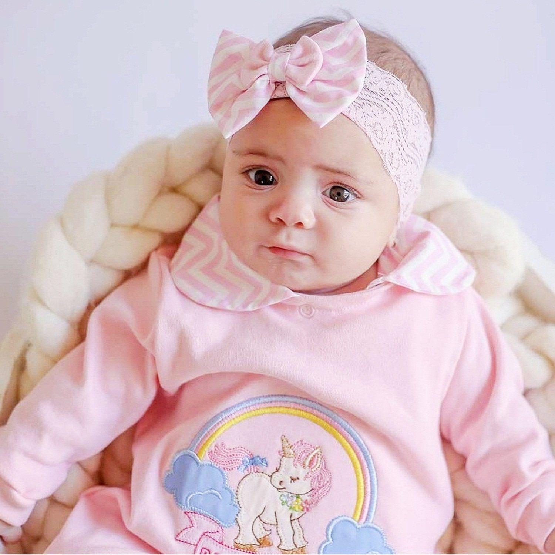 Saida Maternidade Manga Longa 3 Peças Malha e Tricoline Rosa Unicórnio Chevron